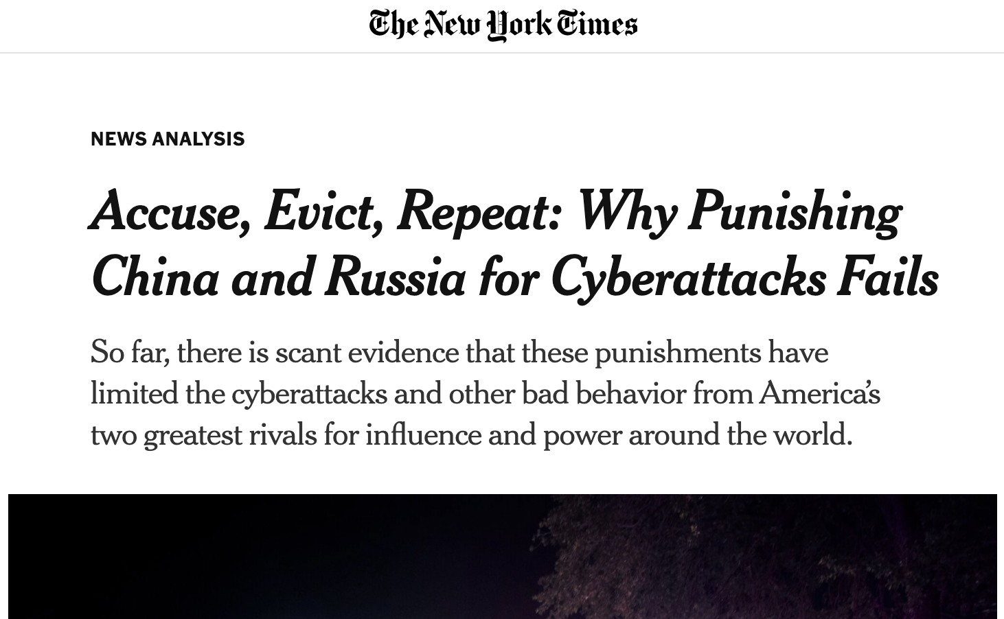 Greg Rattray featured in the New York Times: Accuse, Evict, Repeat: Why Punishing China and Russia for Cyberattacks Fails